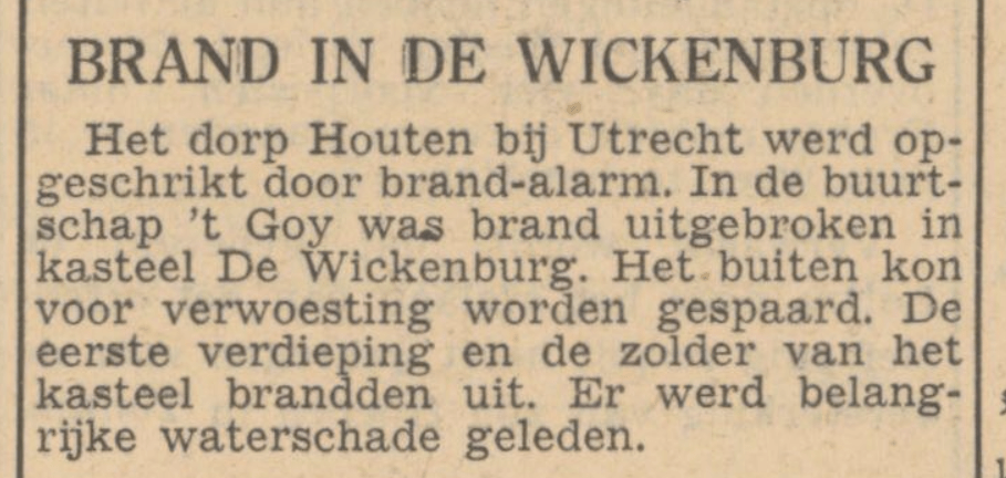 Brand Wickenburgh in krant