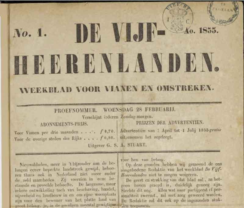 De eerste editie van de Vijfheerenlanden uit 1855